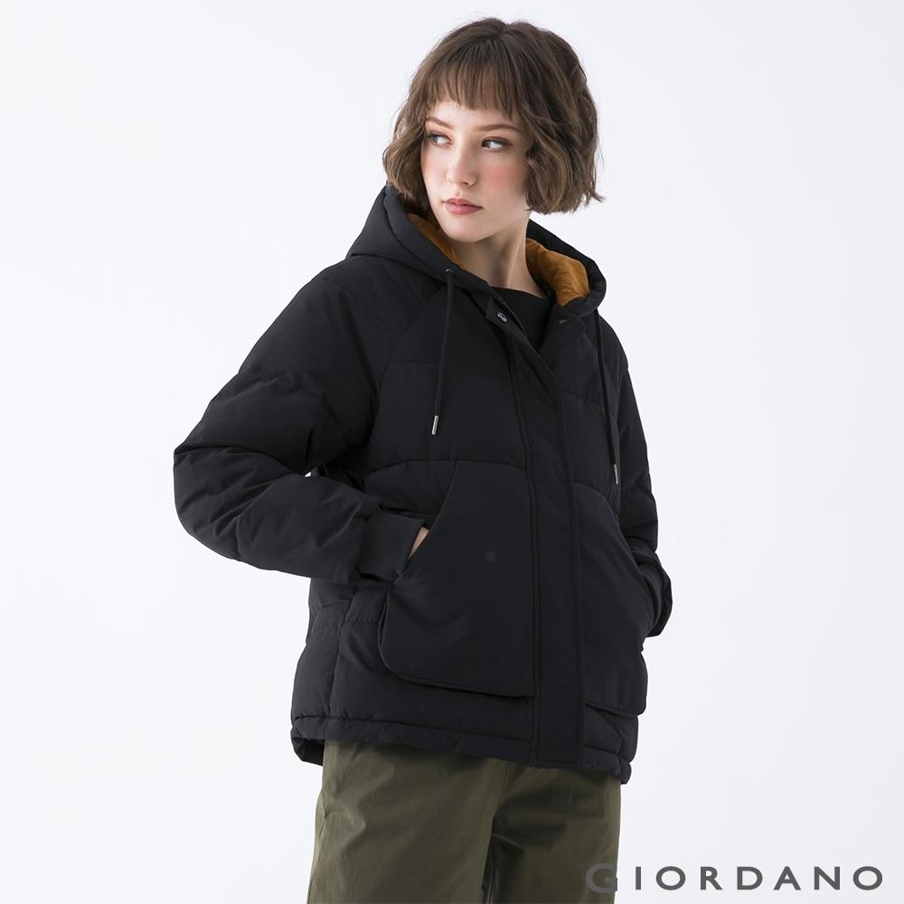 GIORDANO 女裝大口袋鋪棉連帽外套 - 09 標誌黑