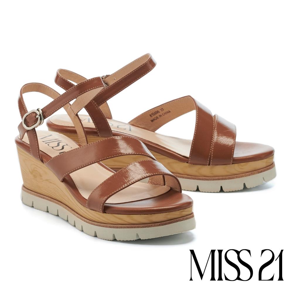 涼鞋 MISS 21 簡約質感繫帶牛皮楔型高跟涼鞋-咖