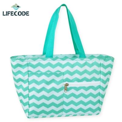 LIFECODE多用途保冰水餃包/午餐袋/便當袋-綠色波浪
