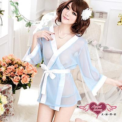 罩衫 陶醉心機 薄紗連身綁帶睡裙(藍F) AngelHoney天使霓裳