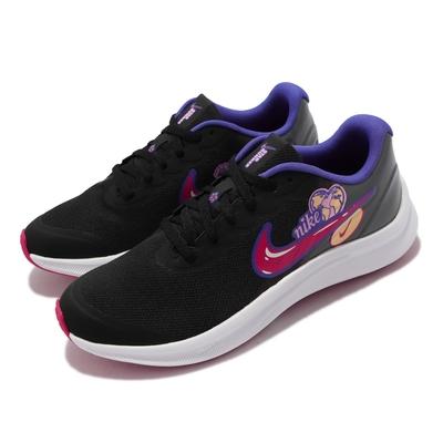Nike 慢跑鞋 Star Runner 3 SE GS 女鞋 輕量 透氣 舒適避震 運動 大童 童趣印花 黑彩 DH3144-013