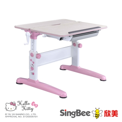【SingBee欣美】Hello Kitty 手搖雙板桌-兒童成長/台灣製/升降/學生