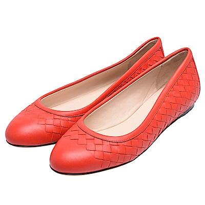 BOTTEGA VENETA 經典編織牛皮平底娃娃鞋(紅)