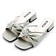 River&Moon涼鞋 寬版軟皮朵結鍊鑽方頭低跟拖鞋 綠 product thumbnail 1