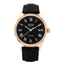 Valentino Coupeau 范倫鐵諾 古柏 經典羅馬機械錶(玫殼/黑面/黑皮)