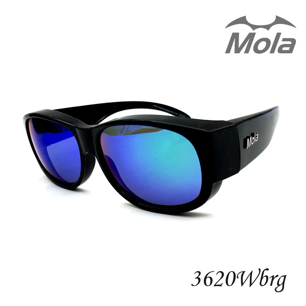 MOLA摩拉前掛式偏光太陽眼鏡 套鏡 彩色多層膜 男女一般臉型 近視可戴-3620Wbrg