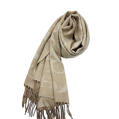 COACH 經典滿版LOGO羊毛混絲披肩圍巾-米色