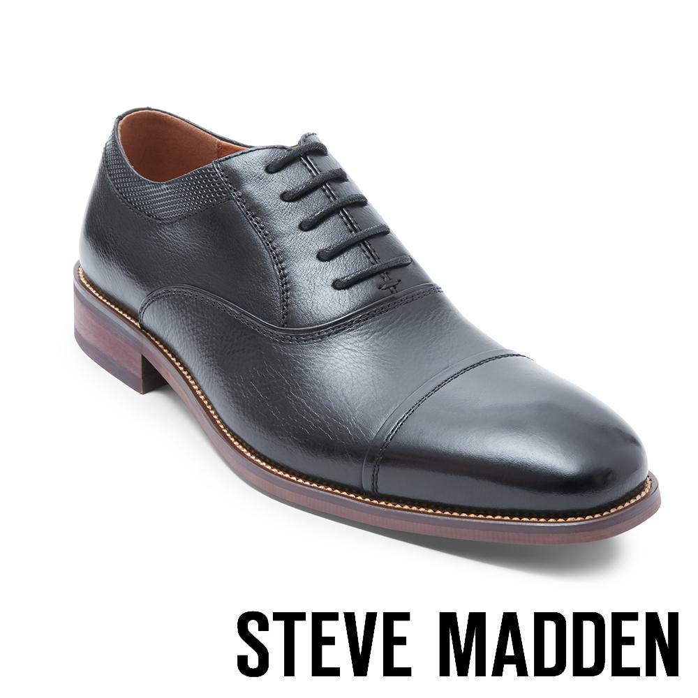 STEVE MADDEN-GLYMPSE 真皮男士美式拼接式紳士鞋-黑色