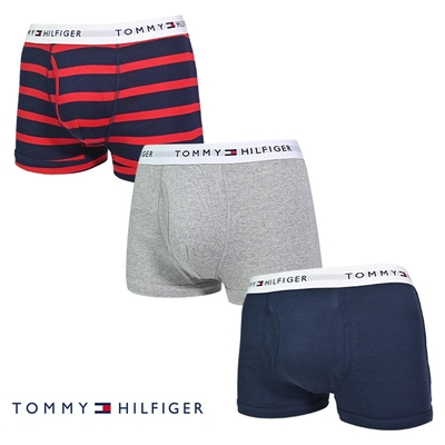 Tommy Hilfiger Cotton Stretch 男內褲 短版棉質高彈性合身平口褲/Tommy四角褲-紅藍條紋、灰、海軍藍 三入組