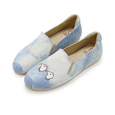 Paidal x 卡娜赫拉的小動物 喵喵喵咪單寧款樂福鞋-藍