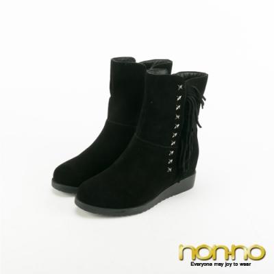 Nonno 諾諾鉚釘流蘇率性內增高中靴