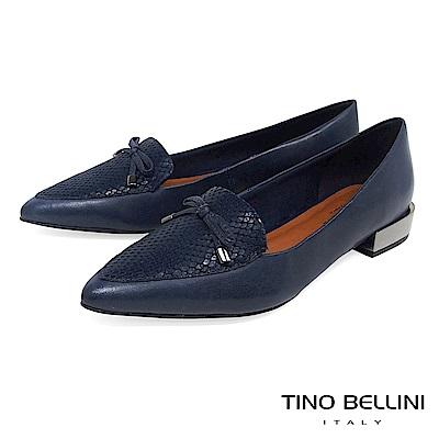 Tino Bellini 巴西進口拼接蛇紋小蝴蝶結低跟樂福鞋 _ 深藍