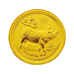 澳洲柏斯生肖紀念幣-澳洲2019豬年生肖金幣(1/10盎司)