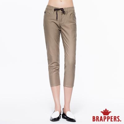 BRAPPERS 女款 Boy Friend Jeans-女用休閒抽繩七分反摺褲卡其