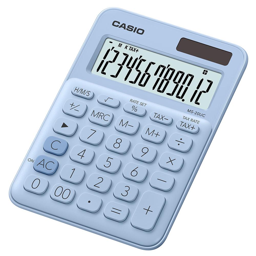 CASIO 12位元甜美馬卡龍色系攜帶型計算機(MS-20UC-LB)蘇打藍