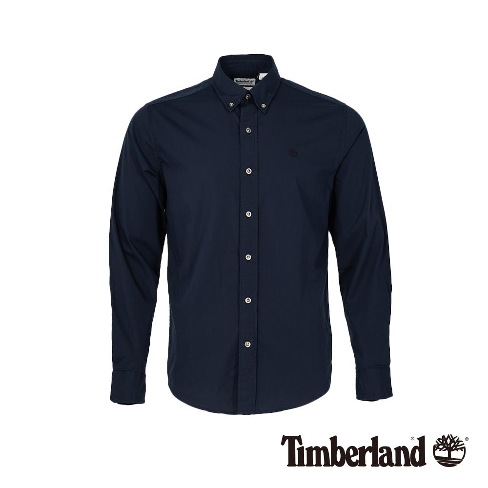 Timberland 男款深藍色彈力府綢長袖襯衫|A1LSN