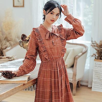 DABI 韓國風文藝復古風格紋長袖洋裝