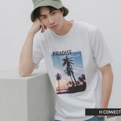 H:CONNECT 韓國品牌 男裝 -活力圖印文字T-Shirt-白