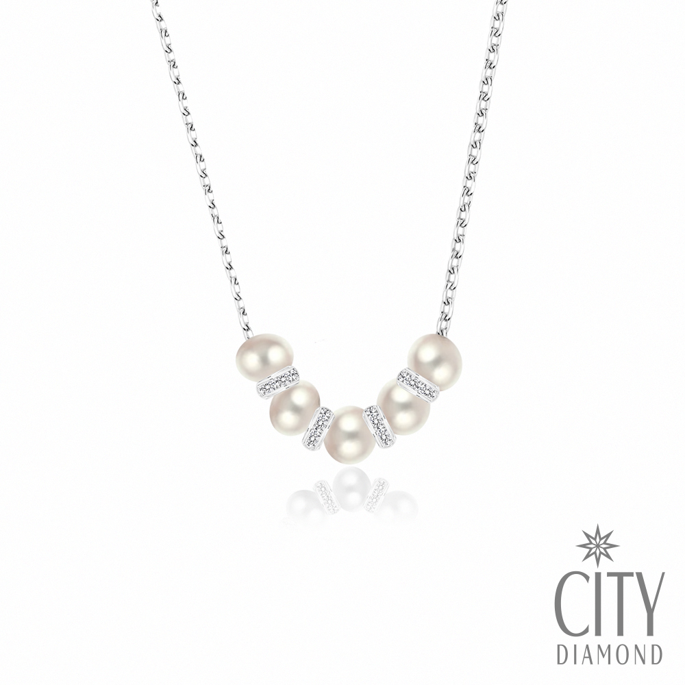 City Diamond引雅【東京Yuki系列】5顆天然珍珠水鑽項鍊