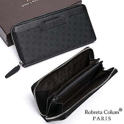 Roberta Colum - 尊爵格調頭層牛皮8卡單拉鍊長夾