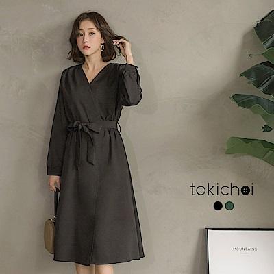 東京著衣 韓妞時尚V領綁帶洋裝-S.M(共二色)