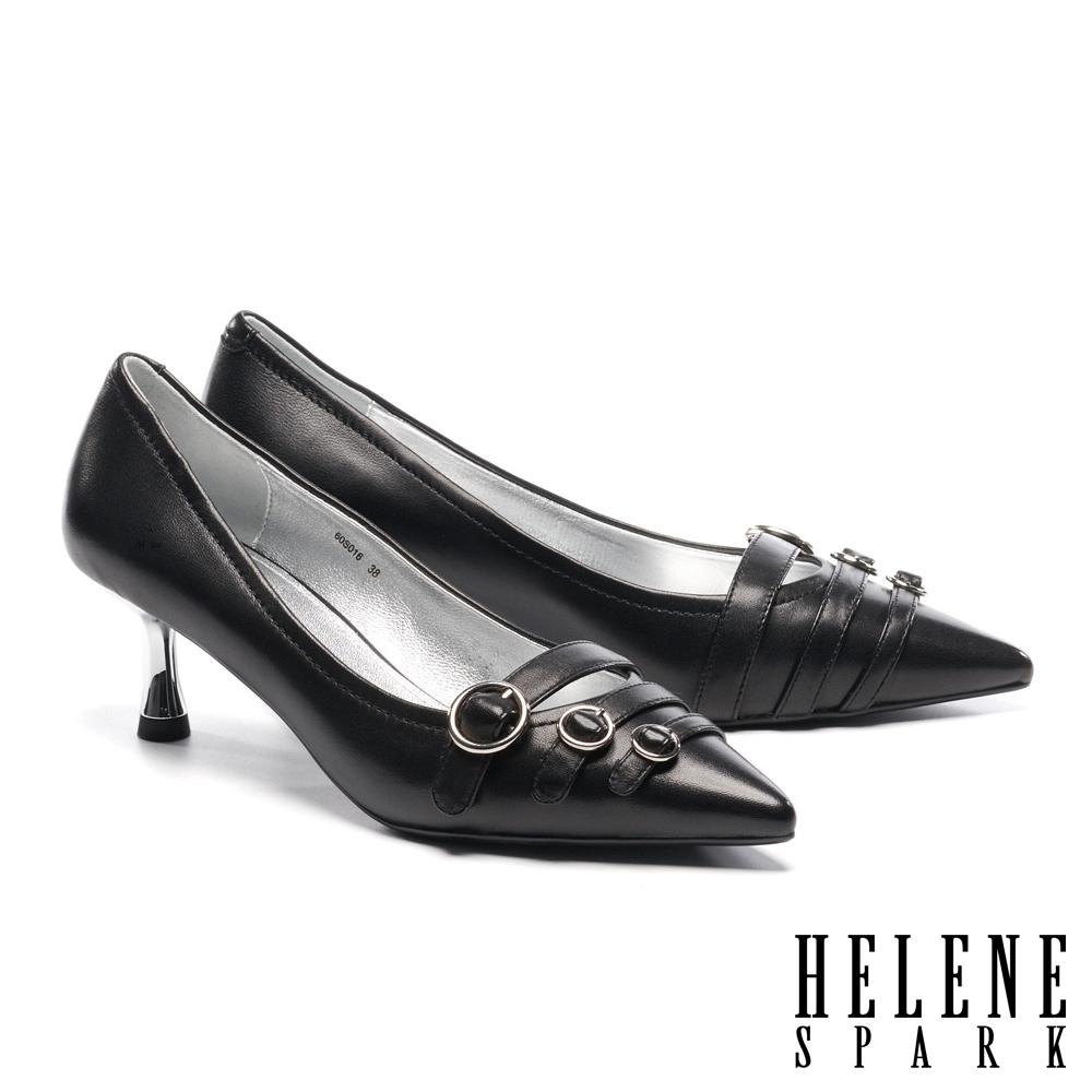 高跟鞋 HELENE SPARK 個性時尚圓針釦多繫帶羊皮尖頭高跟鞋-黑