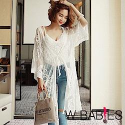 正韓 薄透蕾絲紗罩衫長版外套 (白色)-W BABIES