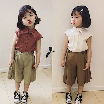 小衣衫童裝  夏季氣質小女生無袖襯衫配打摺褲套裝1080213