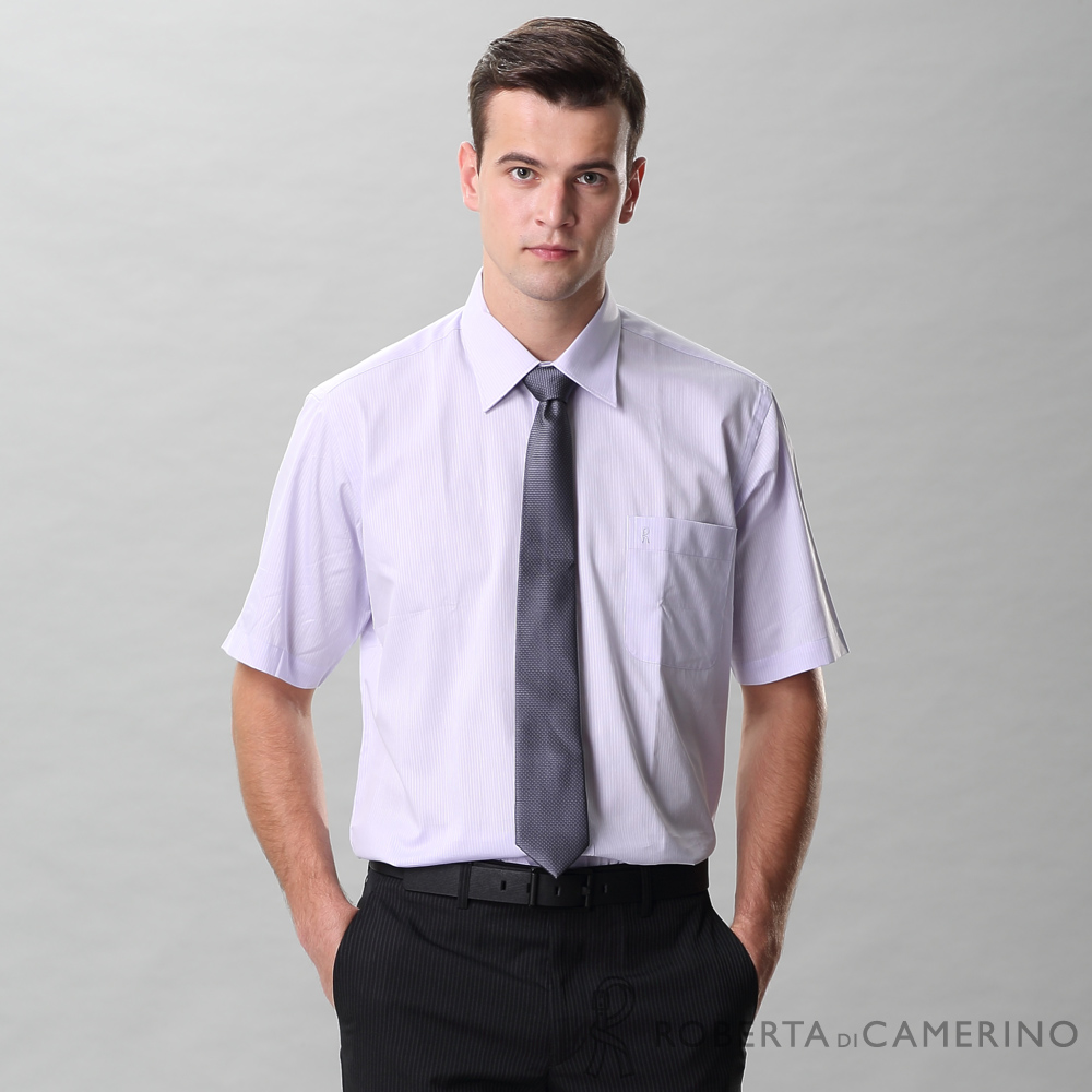 ROBERTA諾貝達 台灣製 商務型男 條紋短袖襯衫 紫色
