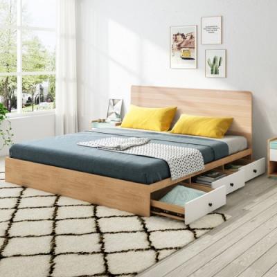 AS-艾維拉雙人三抽床台-150x188x100cm