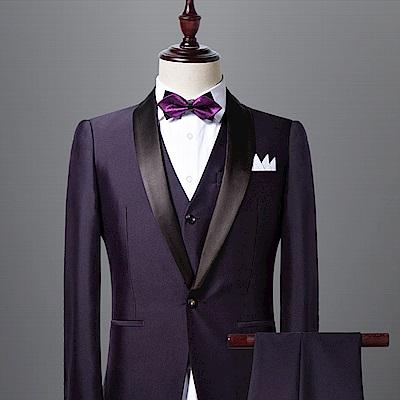 拉福   高檔尖角領結新郎結婚領結糾糾 (兒童深紫色)