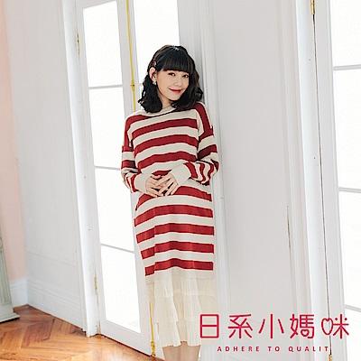 日系小媽咪孕婦裝-孕婦裝 橫條紋拼接層次雪紡針織洋裝