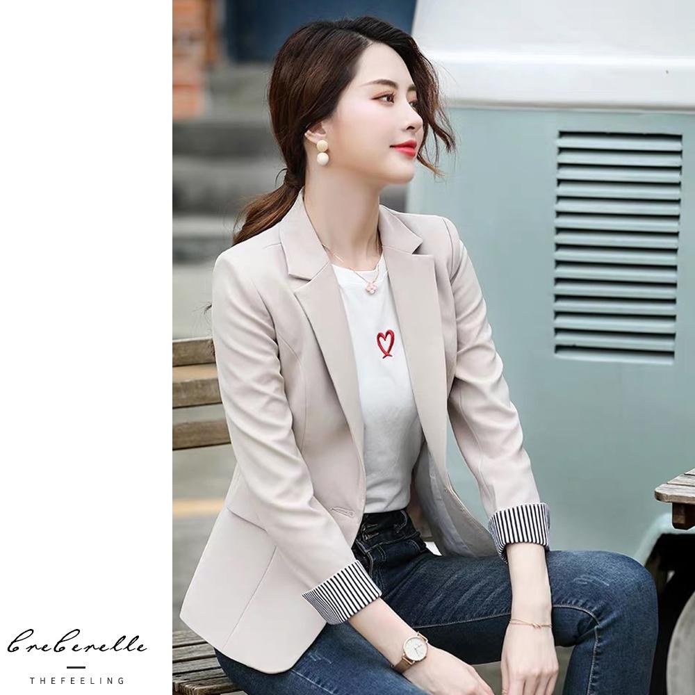 2F韓衣-韓系修身條紋翻袖西裝外套-2色(M-2XL)