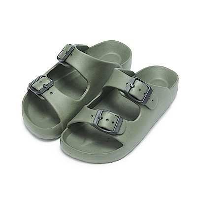 BuyGlasses 輕量造型防水兒童拖鞋-軍綠