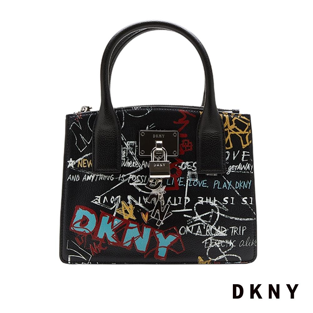 DKNY LOGO個性塗鴉印花手提包 黑