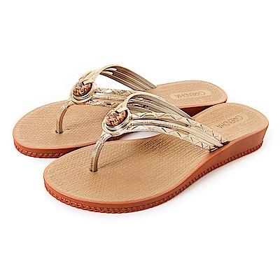 GRENDHA 瑪瑙石華麗人字帶夾腳鞋-褐色