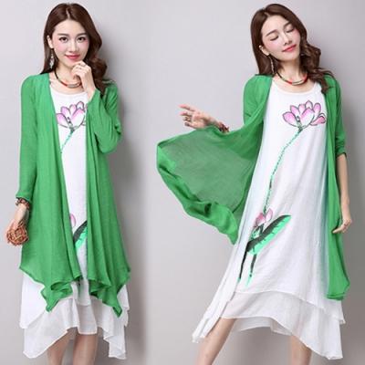 【韓國K.W.】(現貨)小清新印花層次棉麻套裝-1色