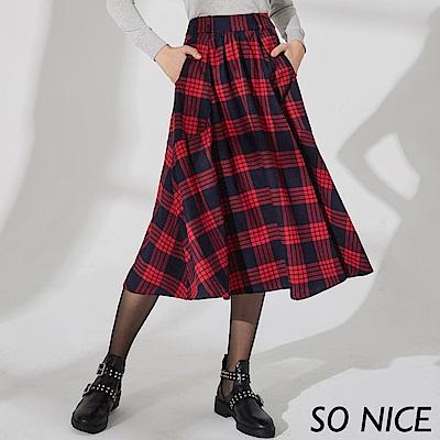 SO NICE俏麗蘇格蘭格紋長版圓裙