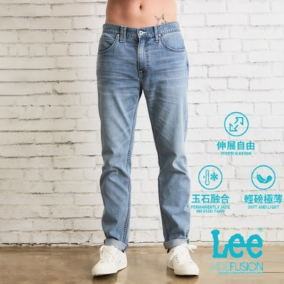 Lee 731中腰舒適小直筒素面水洗牛仔褲 男款 中淺藍 Jade涼感輕量