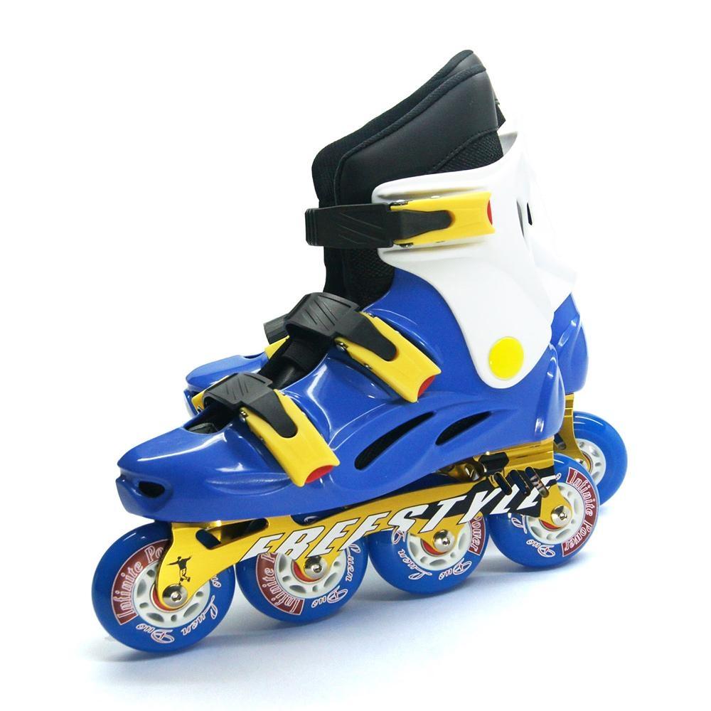 DLD多輪多 鋁合金底座 專業競速直排輪 溜冰鞋 藍白 FS-1 附贈太空背包