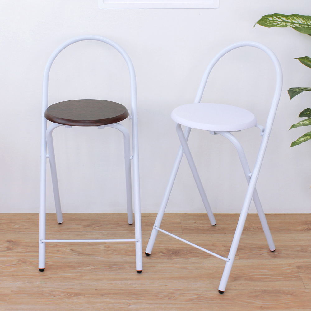 E-Style 鋼管(木製椅座)折疊椅/吧台椅/高腳椅/餐椅 二色