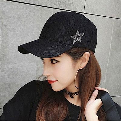 梨花HaNA 低調華麗系列蕾絲五角星棒球帽
