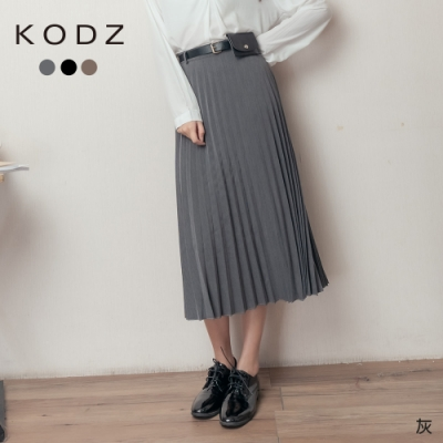東京著衣-KODZ 時髦街拍多色附腰帶百褶裙-S.M.L(共三色)