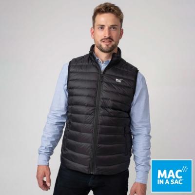 【MAC IN A SAC】男款輕暖袋著走羽絨保暖背心MNS120黑/輕量易收納攜帶
