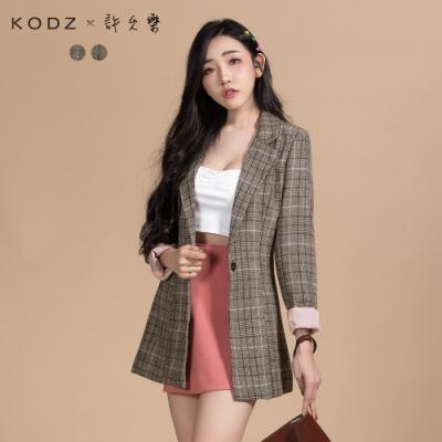 KODZx許允樂 最顯腰身復古格紋反褶袖西裝外套-S.M.L(共二色)
