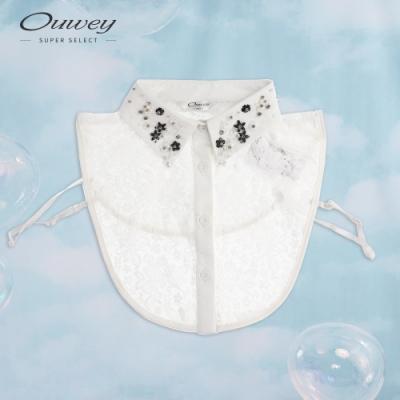 OUWEY歐薇 巴洛克風手工縫飾領片(白)