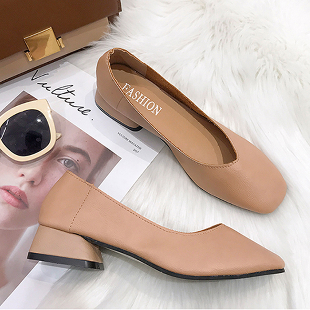 KEITH-WILL時尚鞋館 甜心舒適通勤亮面粗跟鞋-杏色