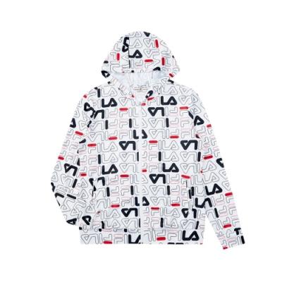 FILA 女吸濕排汗連帽外套-白色 5JKV-1487-WT