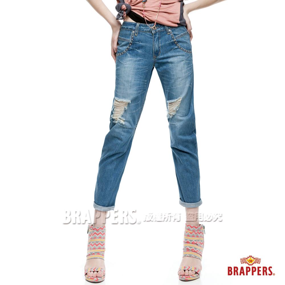BRAPPERS 女款 BoyFriendJeans系列-女用3D八分反摺褲-藍