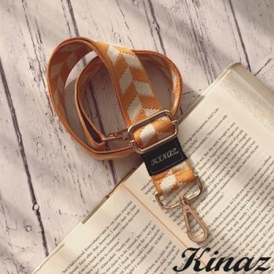 KINAZ 箭頭圖騰品牌質感寬版背帶-奶油布蕾-帶我走系列-快